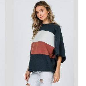 PREORDER 🌿 Oversized Colorblock Tunic Top